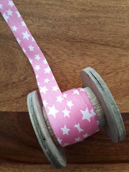Schrägband Sterne rosa/weiß