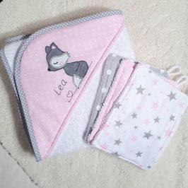 Set: Handtuch + 3 Waschlappen rosa/grau mit Fuchs + Name