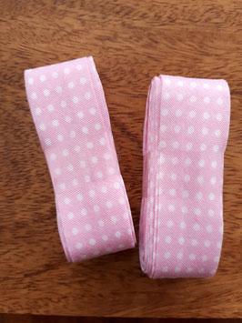 Schrägband - 3m am Stück - Punkte rosa