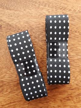 Schrägband - 3m am Stück - Punkte schwarz