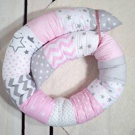 Bettschlange rosa/grau