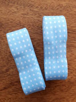 Schrägband - 3m am Stück - Punkte hellblau