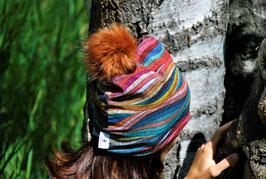 Bonnet femme vagues brodées