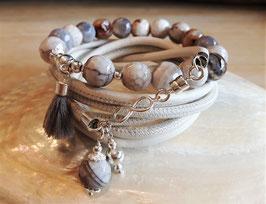 SOMMER 19 - Wickelarmband Leder-Perlen