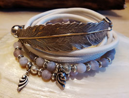 AMAZING - Wickelarmband Leder-Perlen - versilbert