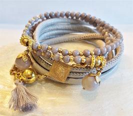 BALI  - Leder- Perlenarmband - golden