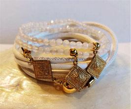 SHEILA - Wickel- Perlenarmband - Messing -golden oder versilbert