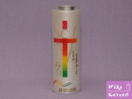 Taufkerze Engel Regenbogen mit Kreuz auf perlmutt Kerze mit Teelicht