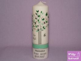 Taufkerze Baum Lebensbaum Silber 1