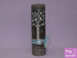 Vintage Taufkerze Baum Lebensbaum 3 Grau