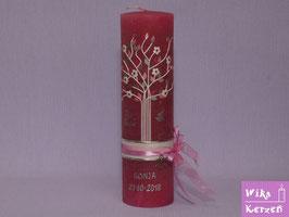 Vintage Taufkerze Baum Lebensbaum 2 Pink