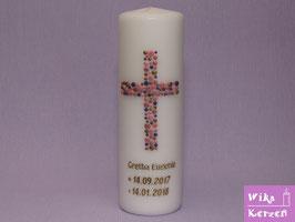 Taufkerze Kreuz Kreise 5