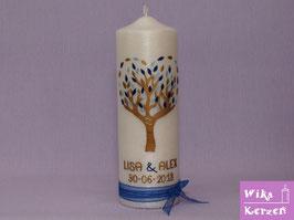 Hochzeitskerze Lebensbaum Baum Perlmutt Herz 3