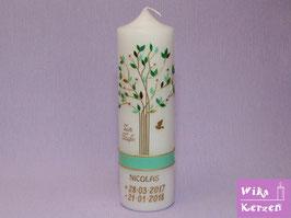 Taufkerze Baum Lebensbaum Gold 1