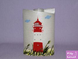 Hochzeitskerze Oval Perlmutt Leuchtturm