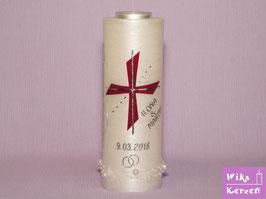 Hochzeitskerze Kreuz mit Teelicht Perlmutt -1 Bordeaux
