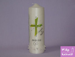 Hochzeitskerze Kreuz Perlmutt-1
