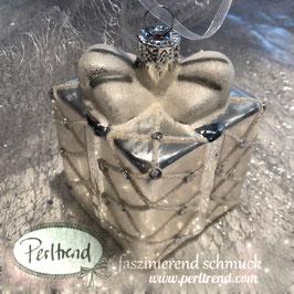 Geschenk Weihnachtskugel silber Crystal Karo 6x6