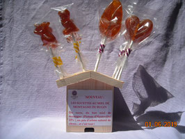 Mini-sucette au miel de montagne et citron - 12 g environ l'unité