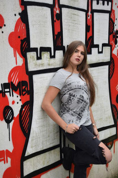 Damen T-Shirt grau/schwarz