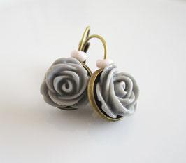 Ohrringe  ♥ graue Rosen ♥
