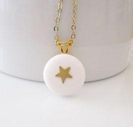Weiß goldene Kette ♥ Stern ♥