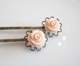 Haarspangen - Set ♥ rosa Blume ♥