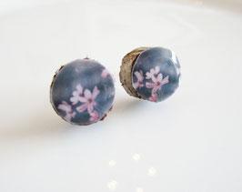 Ohrstecker ♥ echter Ast, zarte rosa Blüten ♥