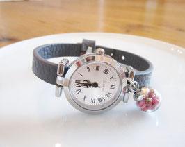 Graue  Armbanduhr  ♥ rosa Blüten  ♥