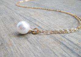 Perlenkette weiß gold