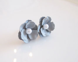 Ohrstecker ♥ graue Blüten ♥