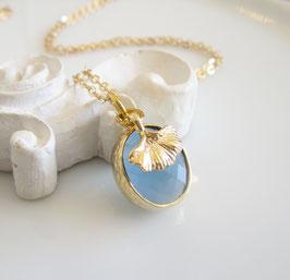 Gingko Kette gold blau