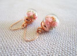 Ohrringe mit echten Blüten - 925 Sterling Silber - rose gold