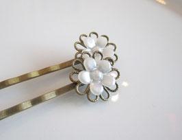 Haarspangen - Set ♥ weiße Blüte ♥