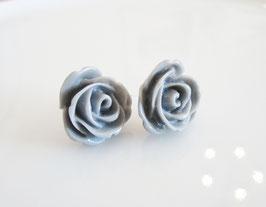 Ohrstecker  ♥ graue Rosen  ♥