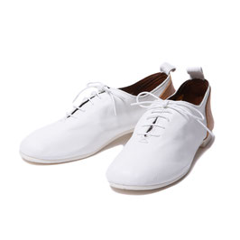 Leather Lace-up Ballet Shoe / White