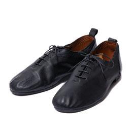 Leather Lace-up Ballet Shoe / Black