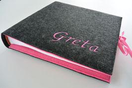 Fotoalbum Filzeinband dunkelgrau/rosa