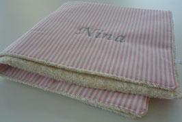 Babydecke rosa Streifen + Name