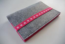 U-Hefthülle nr.51 -  Sterne hellgrau/pink + Impfpassfach