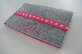 U-Hefthülle Nr.8 - Sterne hellgrau/pink + Impfpassfach + Name