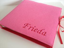 Fotoalbum Filzeinband rosa/rot