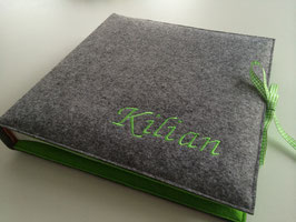 Fotoalbum Filzeinband hellgrau/grün