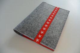 U-Hefthülle Nr.53 - Sterne hellgrau/rot + Impfpassfach