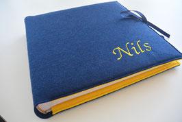 Fotoalbum Filzeinband dunkelblau/gelb