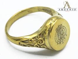Anello placcato oro Stemma inciso