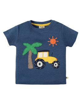 """t-shirt """"traktor/palme"""" in marine gr. 3-6m von frugi"""