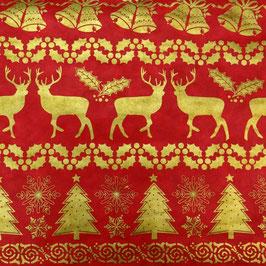 Geschenkpapier °Reindeer° - Rot und Gold