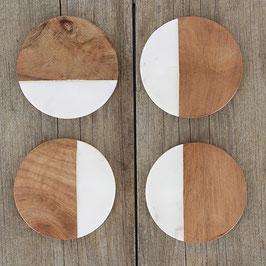 4 x Coaster / Glasuntersetzer °Marple° - Marmor + Mangoholz