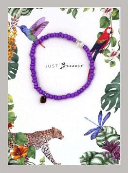 Massai-Armband auf Geschenkkarte °Just Because ...° - Lila